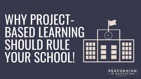 "A horizontal graphic with a dark background and white text that says ""Why Project-based Learning Should Rule Your School"""