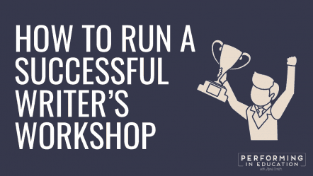 "A horizontal graphic with a dark background and white text that says ""How to Run a Successful Writer's Workshop"""