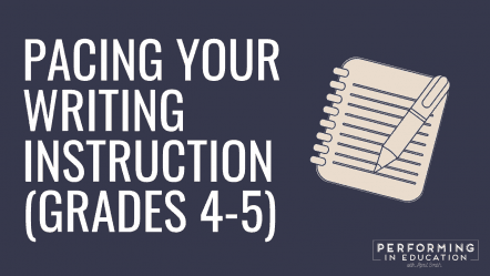 """A horizontal graphic with a dark background and white text that says """"Pacing Your Writing Instruction (Grades 4-5)"""""""