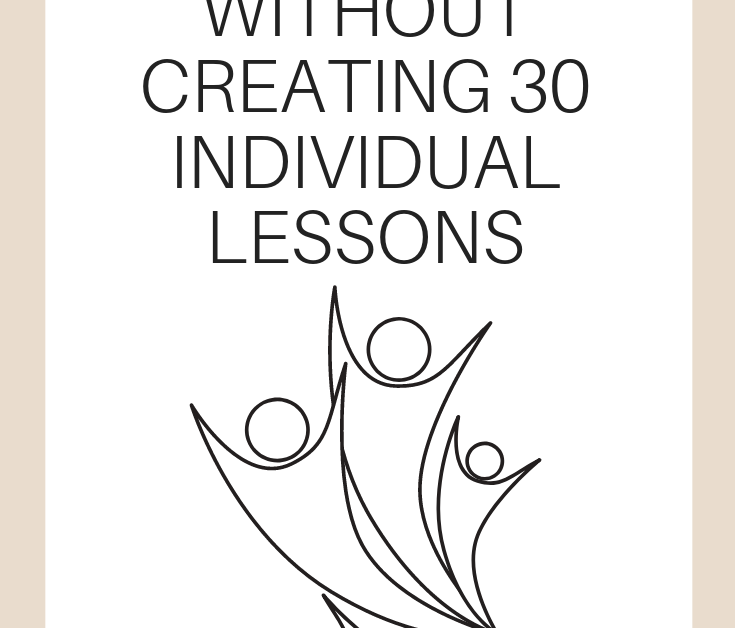 """A vertical graphic with a tan and white background with text that says """"How to Differentiate Without Creating 30 Individual Lessons"""" on it"""