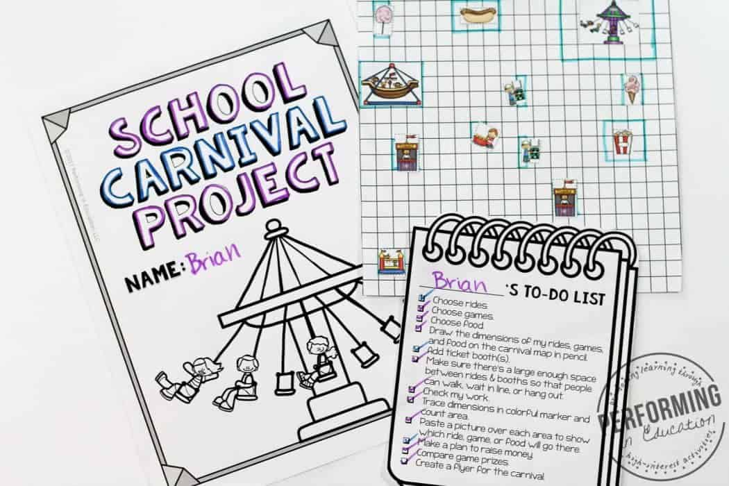 A photograph of a project-based learning activity about planning a school carnival