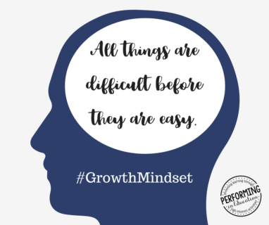 Graphic with a quote about growth mindset on it