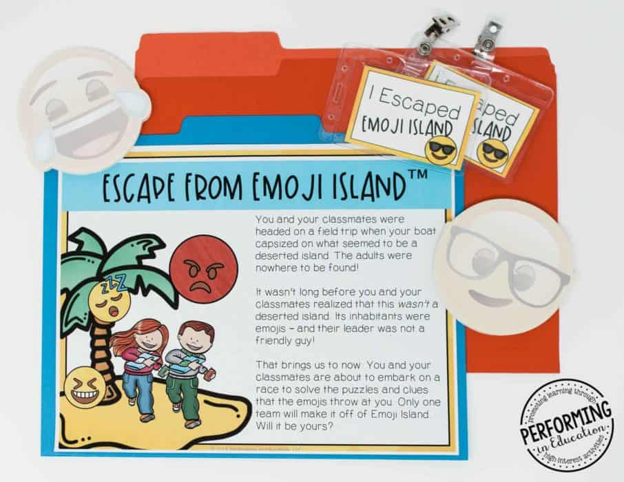 Escape from Emoji Island™ | Learn how to use escape rooms in your elementary classroom to review the standards for test prep time!