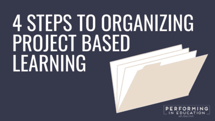 """A horizontal graphic with a dark background and white text that says """"4 Steps to Organizing Project-Based Learning"""""""