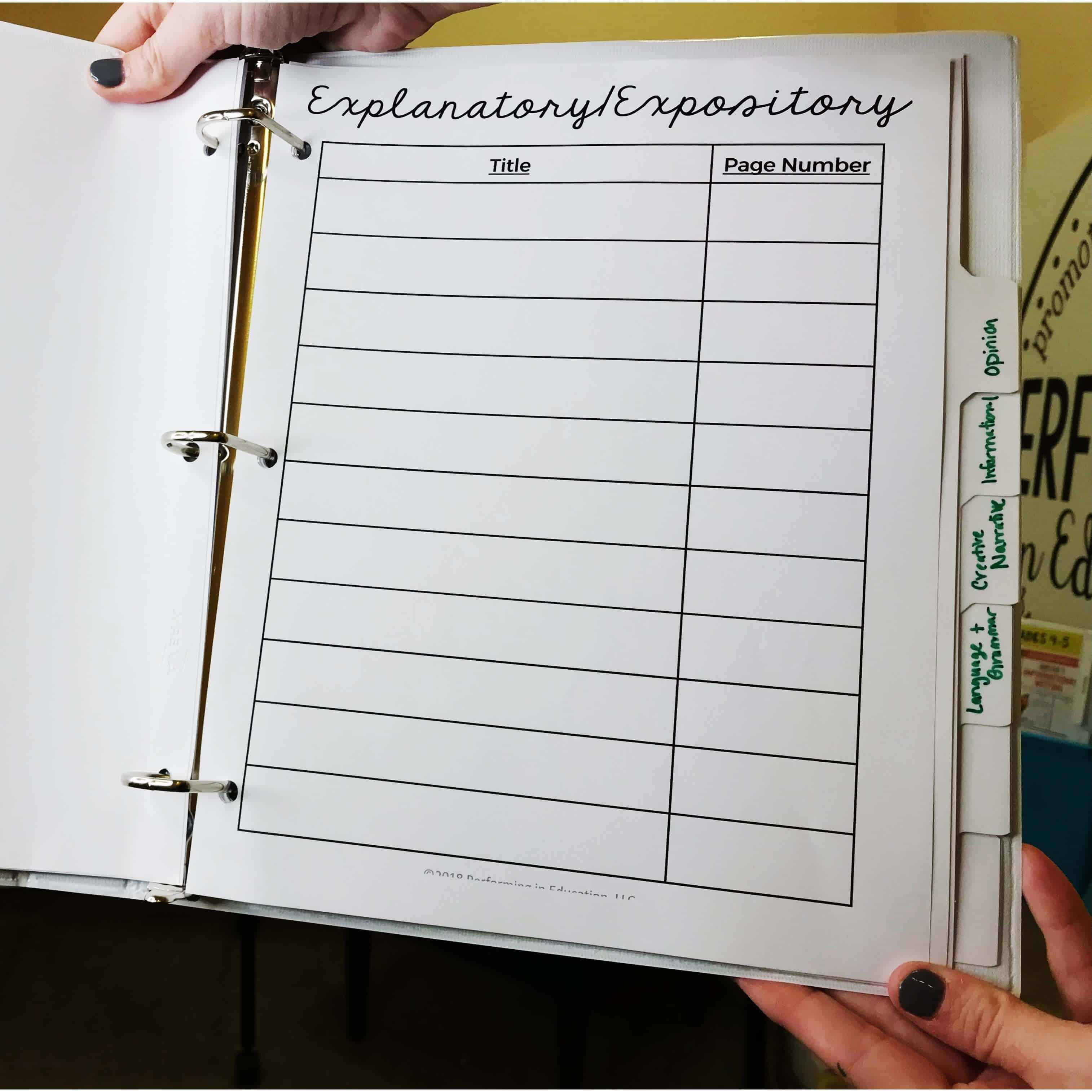This is a photograph of a binder that can be used during a grammar mini-lesson.